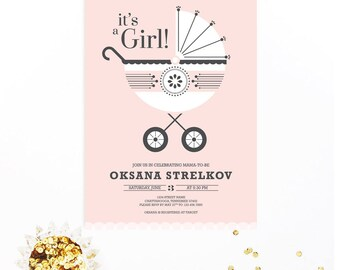 It's a Girl! Blush Baby Carriage or Pram Modern Baby Shower Invitation | DIY Printable Digital File