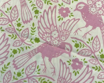 Heather Bailey Meadow Lark Pink & Green Birds Up Parasol Fat Quarter Quilt Fabric Sewing Fabric Retro Fabric