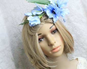 blue flower tiara floral hair jewelry fairy hairpiece flower girl gift daughter blue crown flower tiara woodland jewelry blue headpiece FJ51