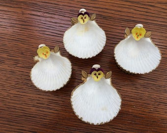 Shell Party Favors Real Shell Favors -Card Holders 4 Vintage Shell Ornamental Pieces Pansy Accents Purple and Yellow Pansy Detailing OOAK