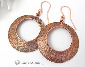 Large Copper Hoop Earrings, Hammered Earrings, Bold Modern Earrings, 7th Copper Anniversary Gift, Handmade Copper Jewelry, Classic Big Hoops