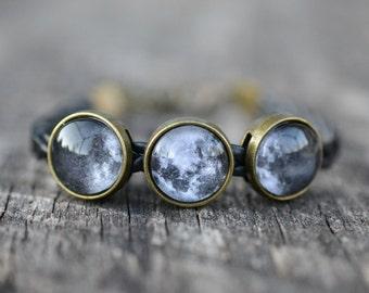 Moon Phase Bracelet, Full Moon Bracelet, Lunar Phases Bracelet, Space Bracelet, Gypsy Jewelry, Astronomy Bracelet, Astronomy Jewelry