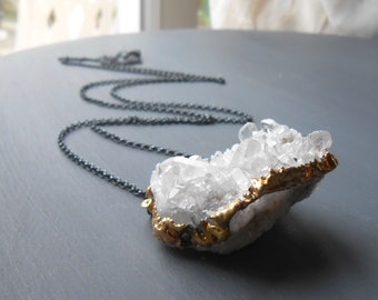 Long Crystal Pendant Necklace, Oxidized Sterling Silver Chain with Gold Plated Quartz
