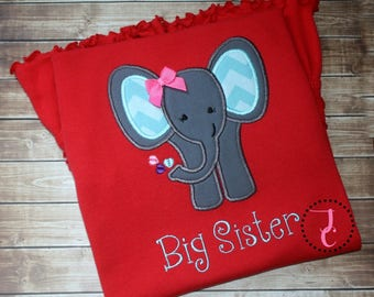 Big Sister Shirt - Big Sister Gift, Big Sister Dress, Big Sister Announcement, Sibling Outfits, Big Sister Little, Sister Elephant, Shower