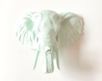 ICICLE BLUE, LARGE Elephant Head, Faux Taxidermy, Faux Animal Head Wall Mount, Safari Wall Art, Elephant Head, Pastel Nursery Mounted Animal