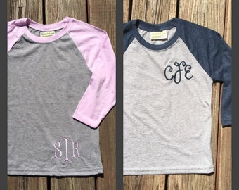Youth Monogrammed Raglan Baseball Tshirt.  8 colors to choose from.   XS, S, M, L, XL  Product #NL3352