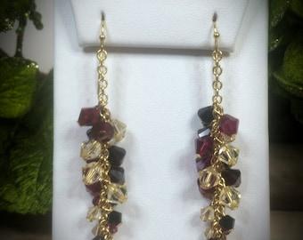 Swarovski Crystal & Pearl Blaze Vine Earrings