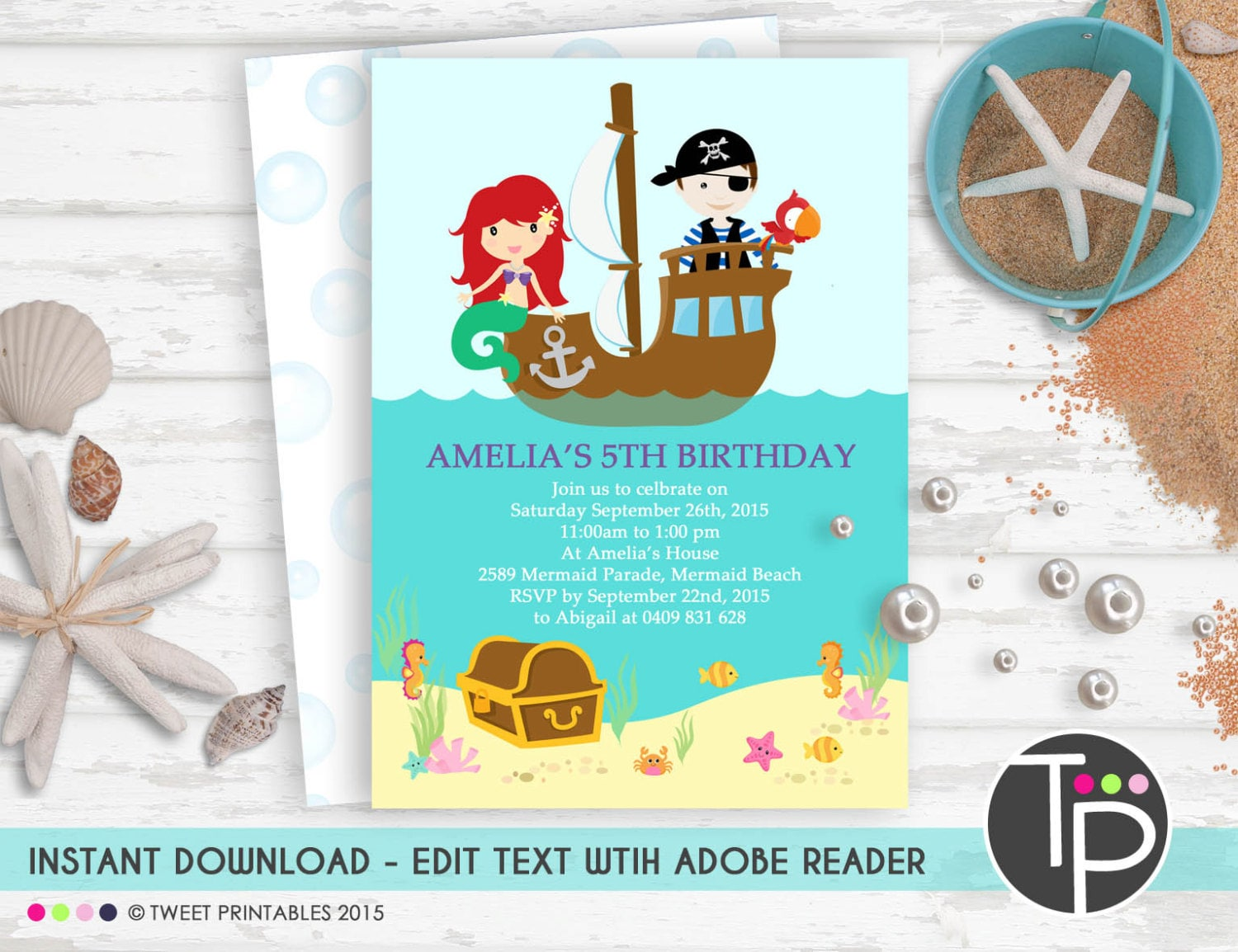 Cute Mermaid And Pirate Party Invitations Pictures Inspiration ...