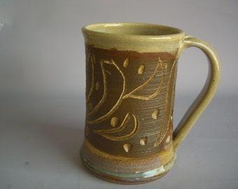 Hand thrown stoneware pottery beer mug   (BM-16)
