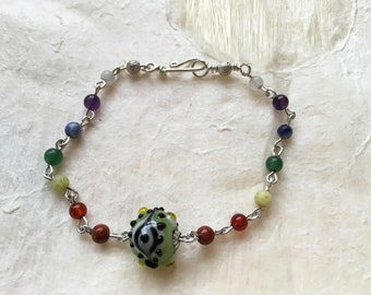 Dainty Linked Seven Chakra Bracelet with Green or Blue Eye Bead (your choice)