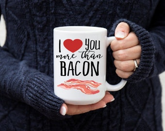 Bacon Lover Gift - Funny Coffee Mug - Gift for Him - Gift for Her - Coffee Lover Gift - Large Coffee Cup - Anniversary Gift - Quote Cup