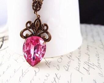 Narnia No.5--Vintage West Germany hot pink glass jewel teardrop necklace