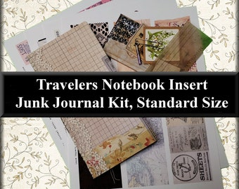 Travelers Notebook Insert: Junk Journal Kit, Standard Size, w/ 4 Sheets of Cut Outs for Decorating, 6 Pieces of Ready Made Embellishments #1