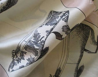 Long silk Victorian shoes scarf vintage pastel colors adorable shoes