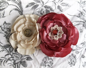 Vintage pink and beige decor fabric flower hair clip, lace and antique look buttons