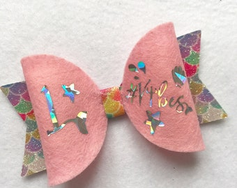 Birthday bow mermaid glitter hairbow
