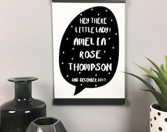 Personalised Baby Girl Print, Personalised Baby Name Print, Custom Baby Name Print, New Baby Gift Print, Nursery Wall Print, Nursery Decor