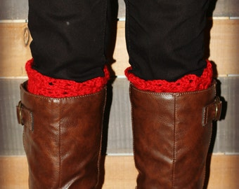 crocheted boot cuffs - boot cuffs - red boot cuffs