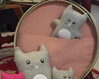 Small 5 inch tall Gray Kitty Stuffed Plushie