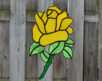 Stained Glass Yellow Rose With Leaves And Stem