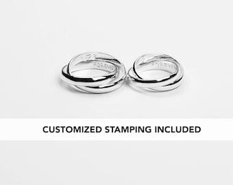 Interlocking Ring For Couples, Wedding Band Set, Couple Ring Promise, His and Her Wedding Ring Set, Couples Ring Set, Sterling Silver Ring
