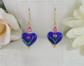 Heart Earrings cobalt Blue with Pink Gifts for Her