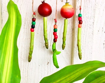 Kitchen Goodies. Pomegranates Asparagus Pea Pods Red Roses Wall Hanging Decor