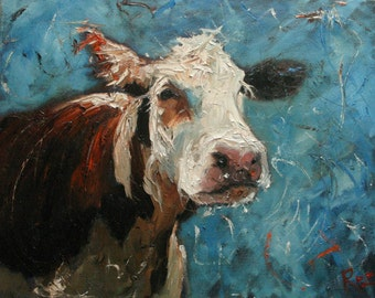 16x20 Print of oil painting Cow38 by Roz