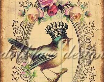 SOFORTIGES DIGITAL DOWNLOAD - Vogel-Königin Nr. 1 - viktorianischen Ephemera Grunge Collage - Scrapbooking - Gift Tag - Kunstdruck