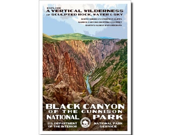 "Black Canyon of the Gunnison National Park Poster, WPA style 13"" x 19"" Signed by the artist. FREE SHIPPING!"