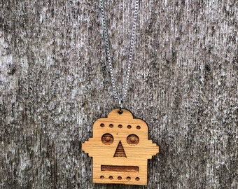 Laser cut retro robot  bamboo necklace