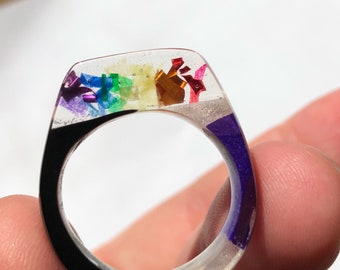Rainbow confetti ring size 8.5 (RBOW-16)