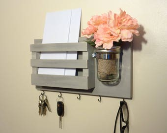 Mail Organizer - Key Holder - Mail Holder Wall - (5) Key Hooks - Removable Mason Jar - Other Colors Too - Ready To Hang