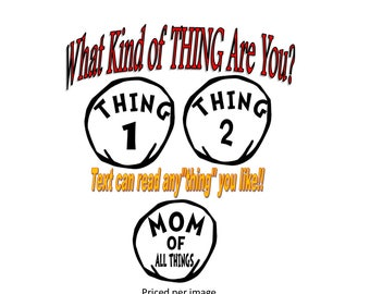 """Personlized Custom Thing 1 Thing 2 Inspired Iron On Transfer - Halloween Costume  Thing 1, Thing 2, Thing 3, or Any """"Thing"""""""