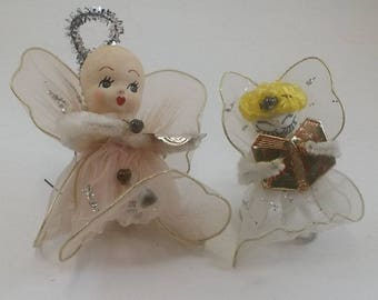 2 Vintage Angel Ornaments- - Spun Cotton Heads, Wired Wings and Net Gowns, White & Pink - 1950s, Midcentury Christmas Decor, Delta Novelty