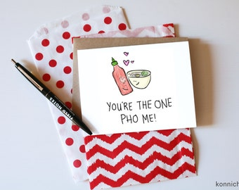 Pho Real Card // Pho Valentine // Cute Pho Card  // Pho Card // Valentine for Pho Lovers // You're the one Pho Me // Pho Puns