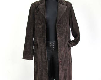 Vintage  Dark Brown Suede Overcoat Trench Midi Belted Coat Size XL