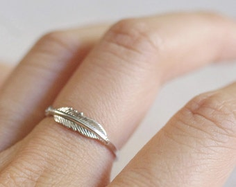 delicate feather ring . feather stacking ring . silver feather ring . gold feather ring . stackable feather ring . feather charm ring / SFTH