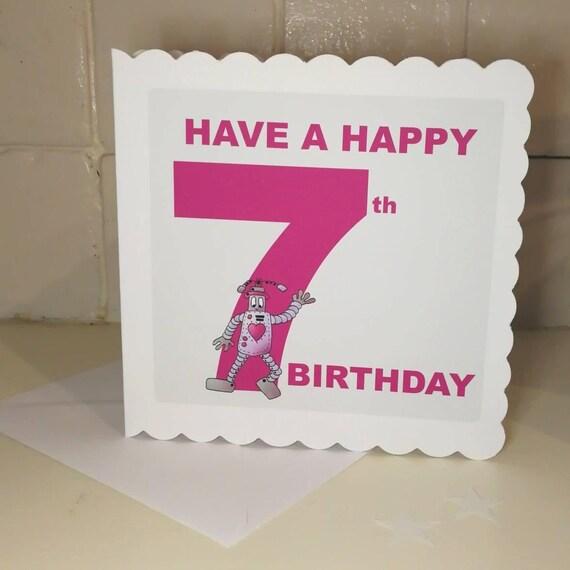 Birthday Card For A 7 Year Old Boy Or Girl Robot Birthday