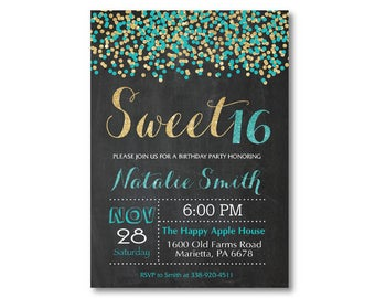 Sweet 16 Invitation. Teal and Gold Sweet 16 Birthday Invitation. Sweet Sixteen Birthday Party. Confetti Glitter Glam. Printable Digital.