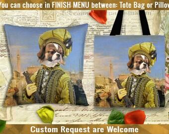 Tibetan Spaniel Pillow or Tote Bag/Tibby Art/Tibetan Spaniel Portrait/Dog Tote Bag/Dog Pillow/Dog Art/Custom Dog Portrait