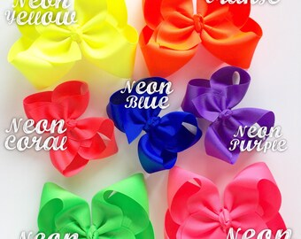 """Neon Hairbow -- CHOOSE from 7 neon colors -- yellow, coral, green, pink, blue, purple, orange -- 3"""" 4"""" 5"""" or 6"""" bow"""