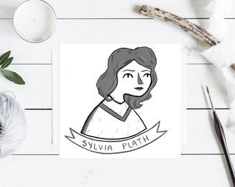 Sylvia Plath Illustration Print