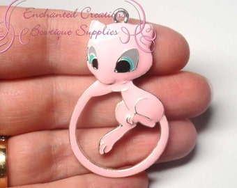 Pokemon Pink Mewtwo Inspired Chunky Pendant, Keychain, Bookmark, Zipper Pull, Chunky Jewelry, Purse Charm