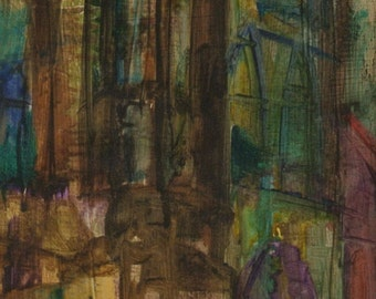 "Ann Cushing Gantz, oil on masonite, ""Cathedral"""