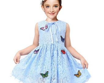 Flower girl dress lace butterfly