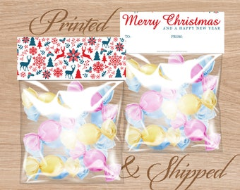 Candy Bag Labels, Candy Bag Toppers, Treat Bag Toppers, Favor Bags Toppers, Printed and Shipped - Merry Christmas and a Happy New Year