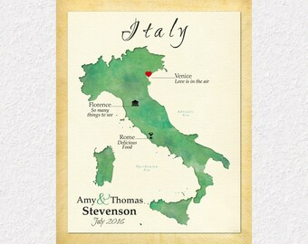 Personalized Wedding Gift, Anniversary Gift, Map Art of Italy, Gift for Couple, Travel Map of Italy, Gift for Spouse, Travel Gift