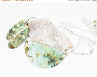 ON SALE Chrysocolla Gemstone . Sterling Silver Pendant Necklace and Dangle Earrings Set . Mix of Greens and Browns . Free Shipping . Gift .