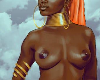 Afrofuturism African American Art Black Cosmic Goddess Woman Spiritual Fantasy Illustration Painting by Sheeba Maya